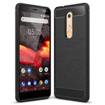Flexi Carbon Fibre Tough Case for Nokia 5.1 - Brushed Black